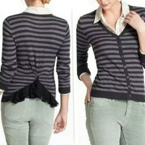 Anthropologie Tabitha Striped Cardigan Ruffle Deta